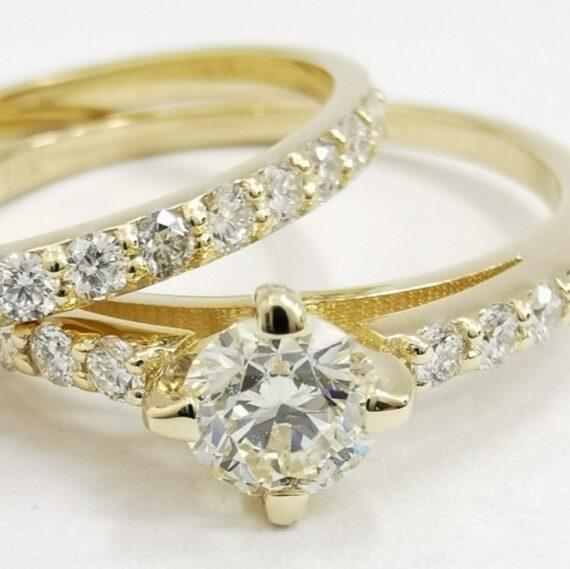 0.70 CT Round Cut Diamond Classic Ring 14K Yellow Gold D VVS2