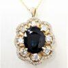 3.95 CT Sapphire Diamond Designer Vintage 14K Yellow Gold Pendant Necklace Anniversary Gift